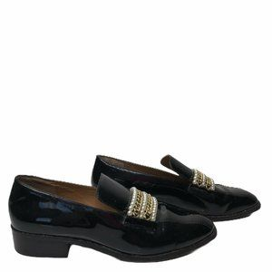 Bettye MullerPatent Leather Pearl Chain Loafers